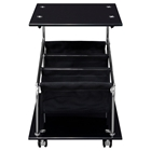 Rocket Castered Accent Table - Storage, Glass Top, Black