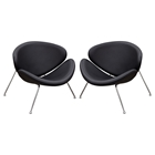 Roxy Accent Chair - Chrome, Black (Set of 2)