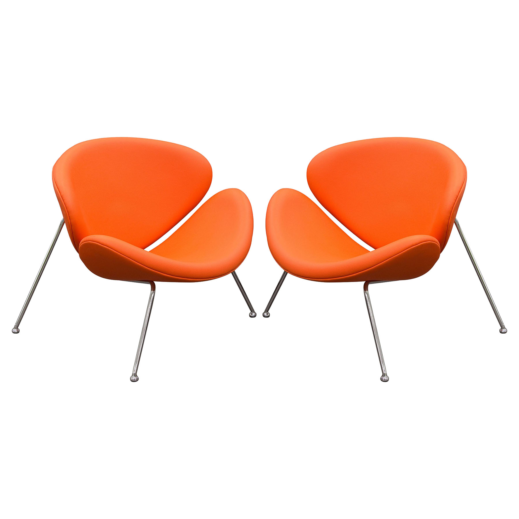 Roxy Accent Chair - Chrome, Orange (Set of 2)