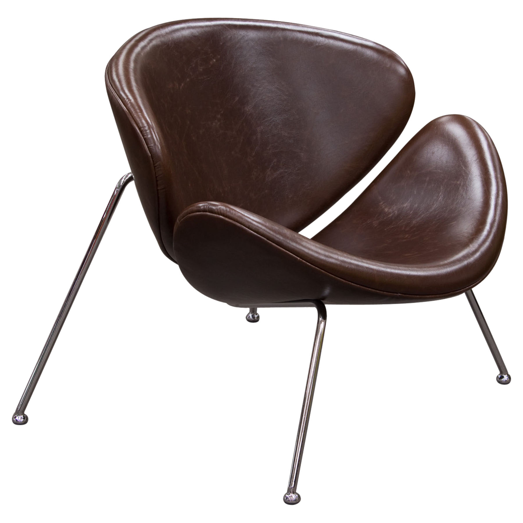 Roxy Accent Chair - Vintage Brown, Chrome