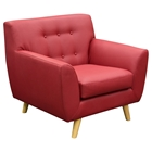 Scarlett Leatherette Accent Chair - Rouge Red