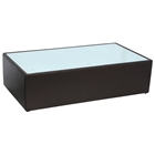 Steel Rectangle Coffee Table - White Glass Top, Mocca Leather
