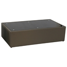 Steel Rectangle Coffee Table - Black Glass Top, Mink Brown Leather