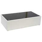 Steel Rectangle Coffee Table - Black Glass Top, White Leather