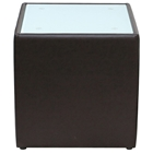 Steel Square End Table - White Glass Top, Mocca Leather