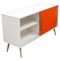 Tangent Tri-Color Storage Cabinet - 2 Sliding Doors, White, Orange, Gray - DS-TANGENTCBWH
