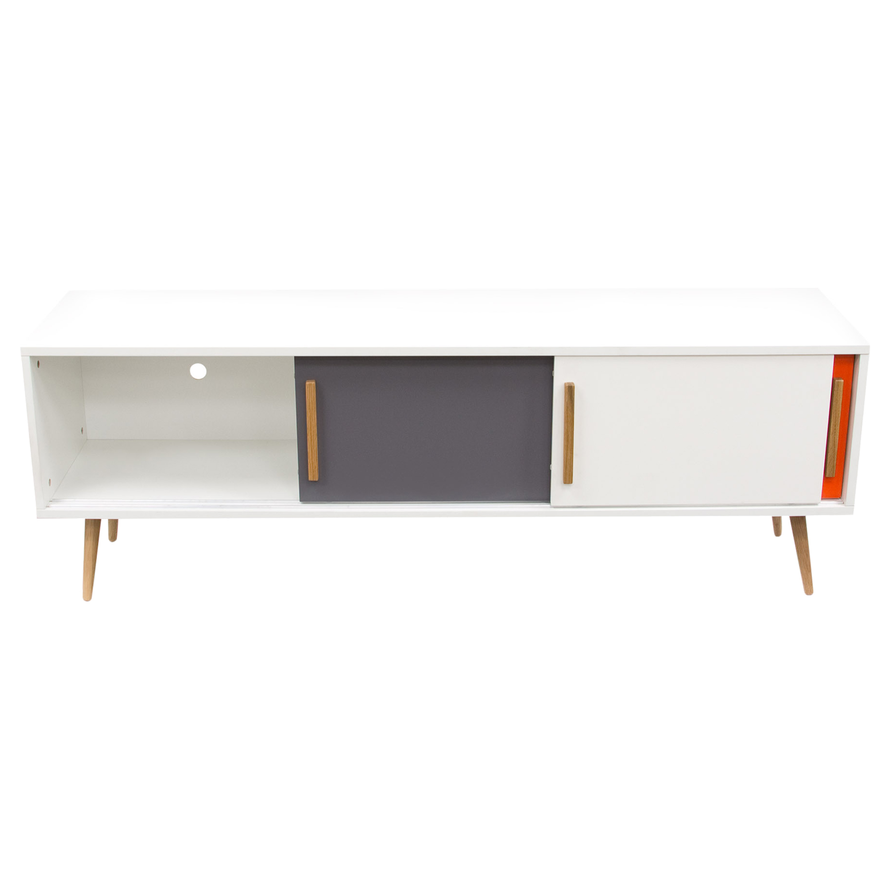 Tangent Entertainment Cabinet - 3 Sliding Doors, White, Orange, Gray - DS-TANGENTTVWH