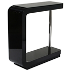 C-Shaped Bar Table - Glass Top, Black Lacquer Base
