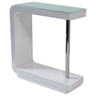 C-Shaped Bar Table - Glass Top, White Lacquer Base