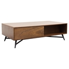 Tempo Cocktail Table - 1 Drawer, Shelf, Walnut
