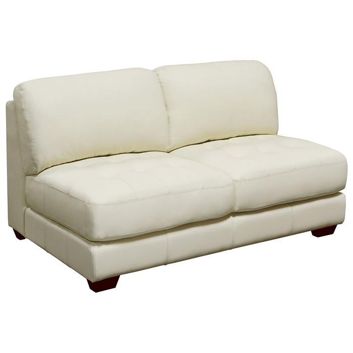 Zen Armless Leather Tufted Loveseat
