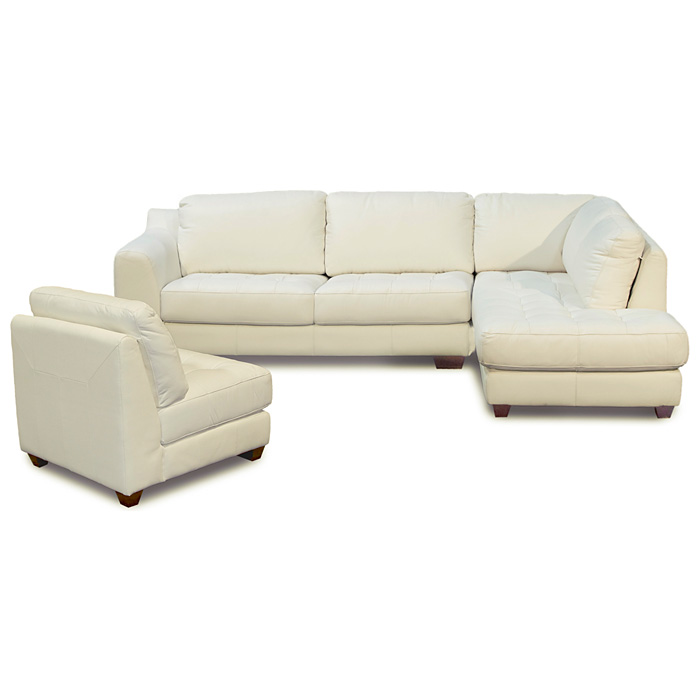Zen Leather Chaise 2PC Sectional with Armless Chair