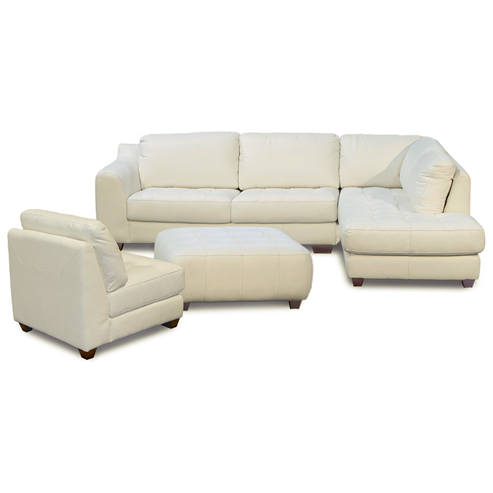 Zen Leather Chaise Sectional with Armless Chair & Ottoman