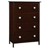 Hugo 4-Drawer Wooden Bedroom Chest - Dark Cappuccino