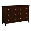 Hugo 6-Drawer Wooden Dresser - Dark Cappuccino