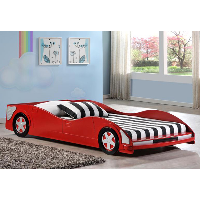 Dresden Twin Size Race Car Bed - Low Profile, Red - DONC-4004R