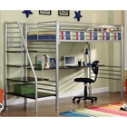Phoebe Metal Stairway Study Loft Bed - Built-In Desk, Silver Finish