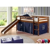 Marsden Espresso Wooden Loft Bed - Slide, Blue Tent