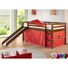 Marsden Espresso Wooden Loft Bed - Slide, Red & White Polka Dot Tent