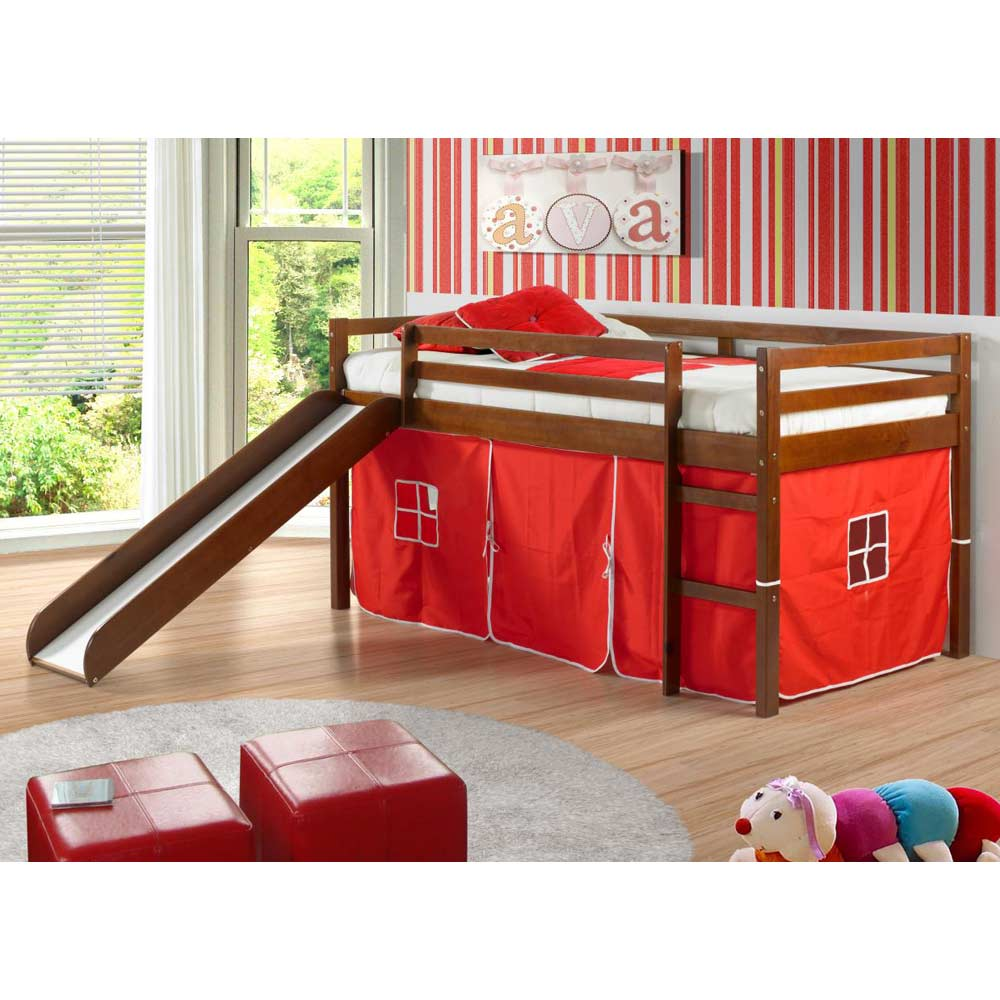 Marsden Espresso Wooden Loft Bed - Slide, Red Tent