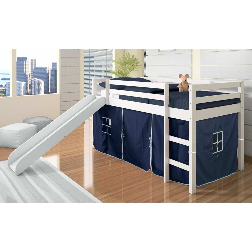 Marsden White Wooden Loft Bed - Slide, Blue Tent