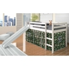 Marsden White Wooden Loft Bed - Slide, Camo Tent