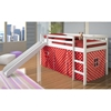 Marsden White Wooden Loft Bed - Slide, Red & White Polka Dot Tent