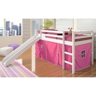 Marsden White Wooden Loft Bed - Slide, Pink Tent