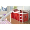 Marsden White Wooden Loft Bed - Slide, Red Tent