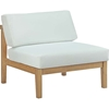 Bayport Outdoor Patio Armless Chair - Natural, White