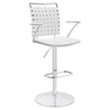 Fuse Adjustable Bar Stool - Swivel, Armrest, White