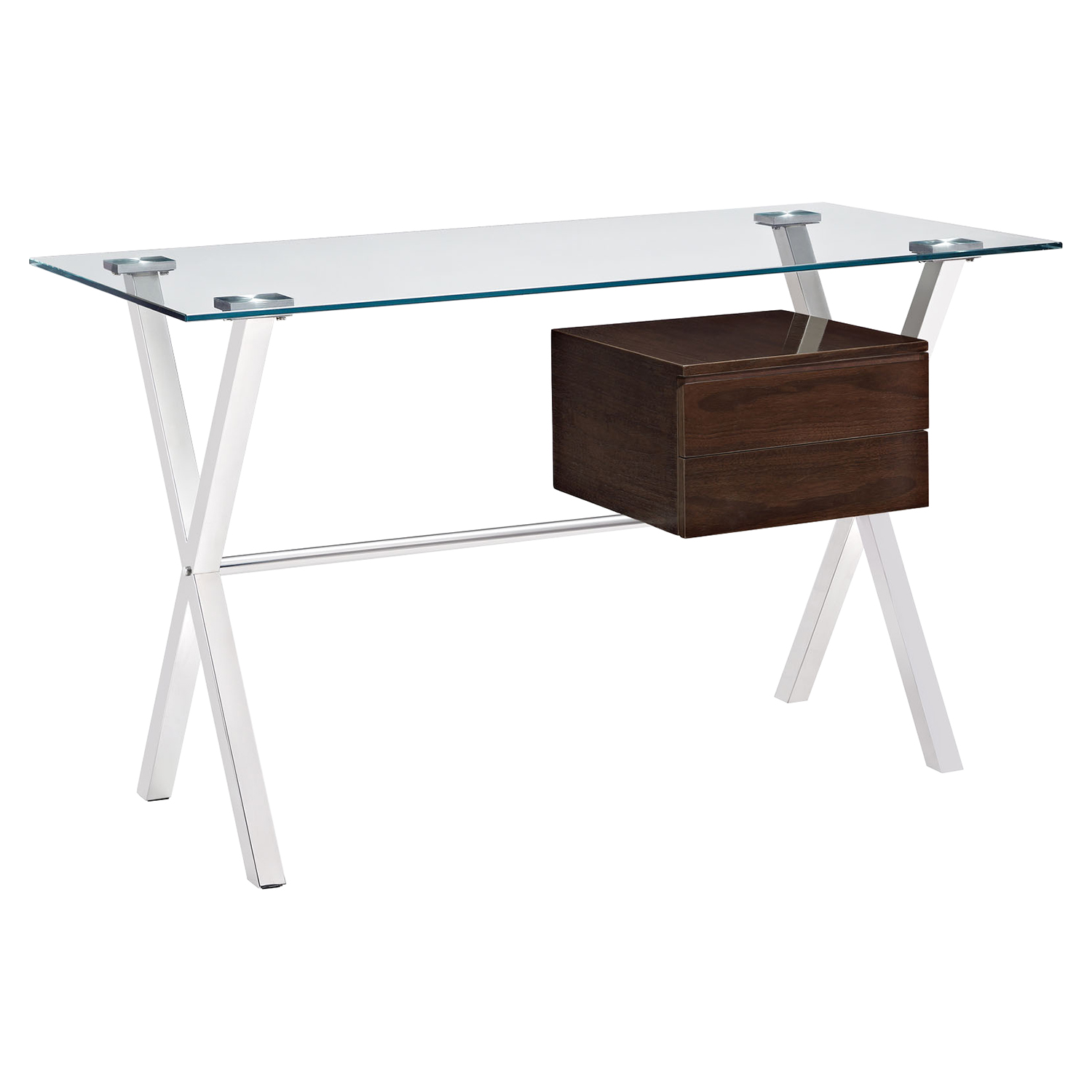 Stasis Glass Top Office Desk - Walnut