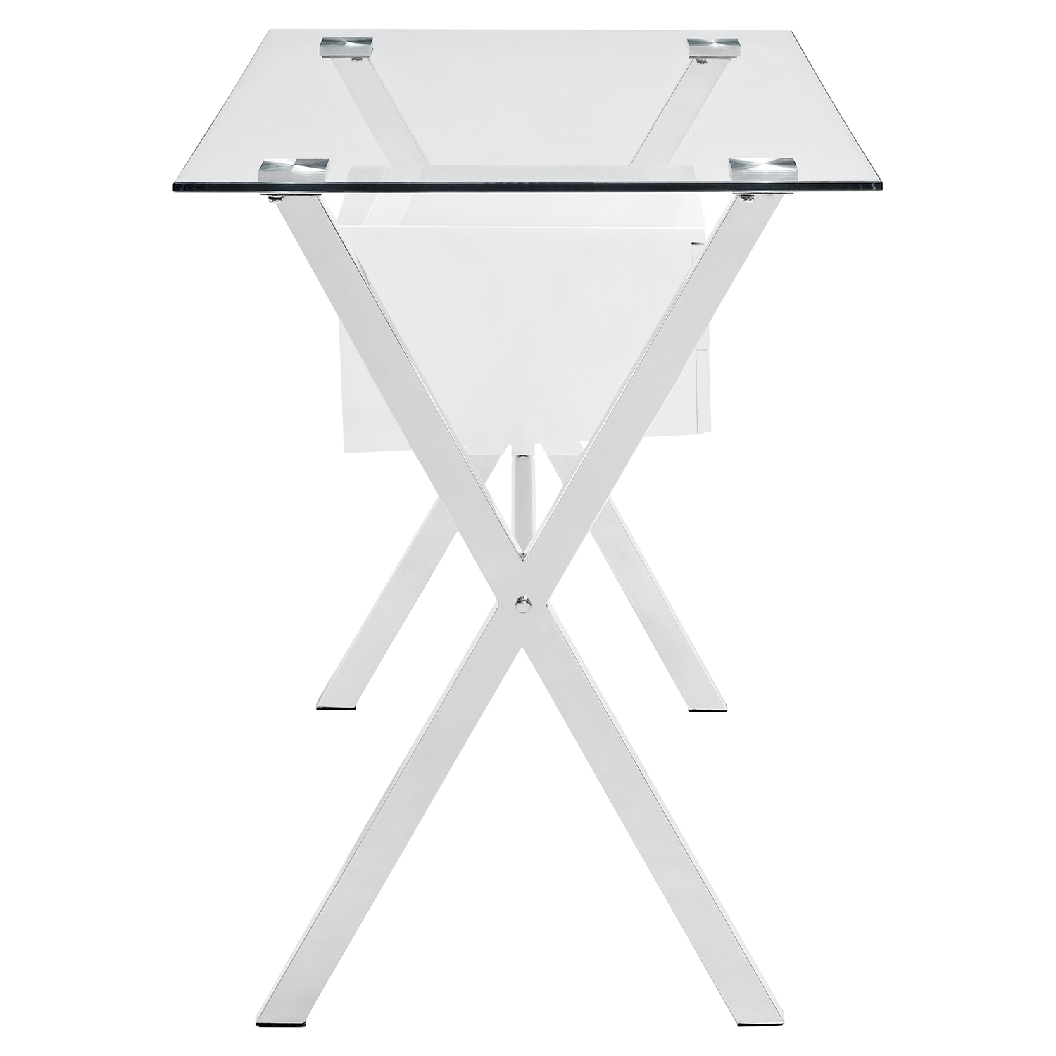 Stasis Glass Top Office Desk - White - EEI-1181-WHI