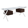 Abeyance Glass Top Office Desk - Walnut