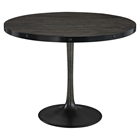 Drive Wood Top Dining Table - Round, Pedestal, Black