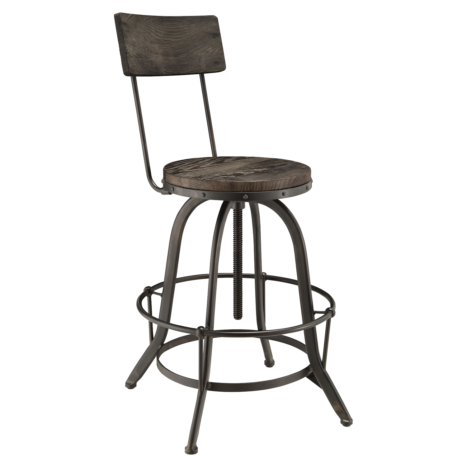 Procure Backrest Bar Stool - Black (Set of 2) - EEI-1605-BLK-SET