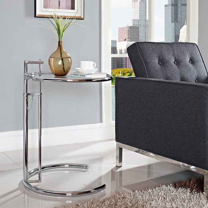 Eileen Gray Side Table with Tempered Glass Top - EEI-125-SLV