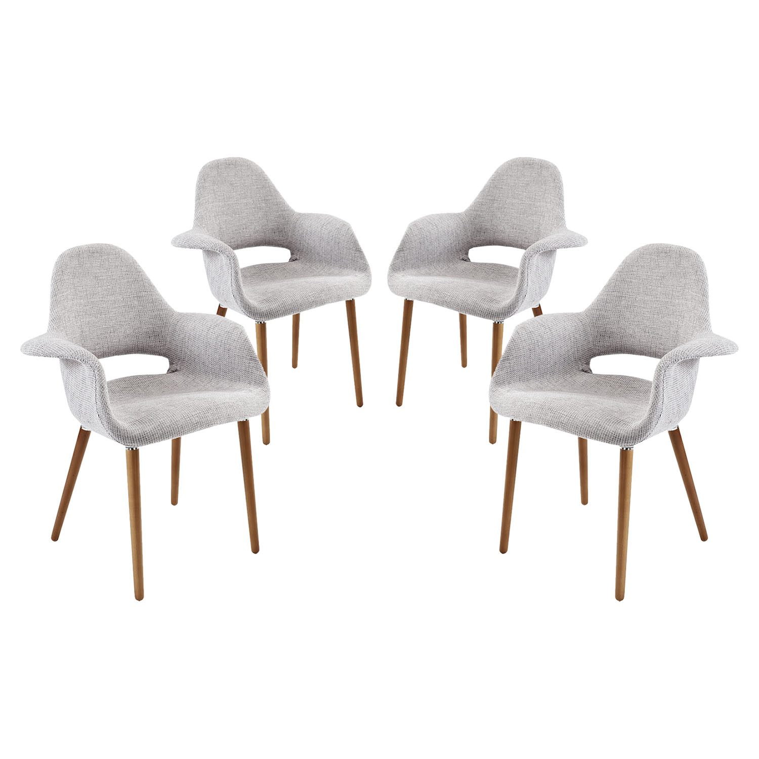 Aegis Dining Armchair - Wood Legs, Light Gray (Set of 4)