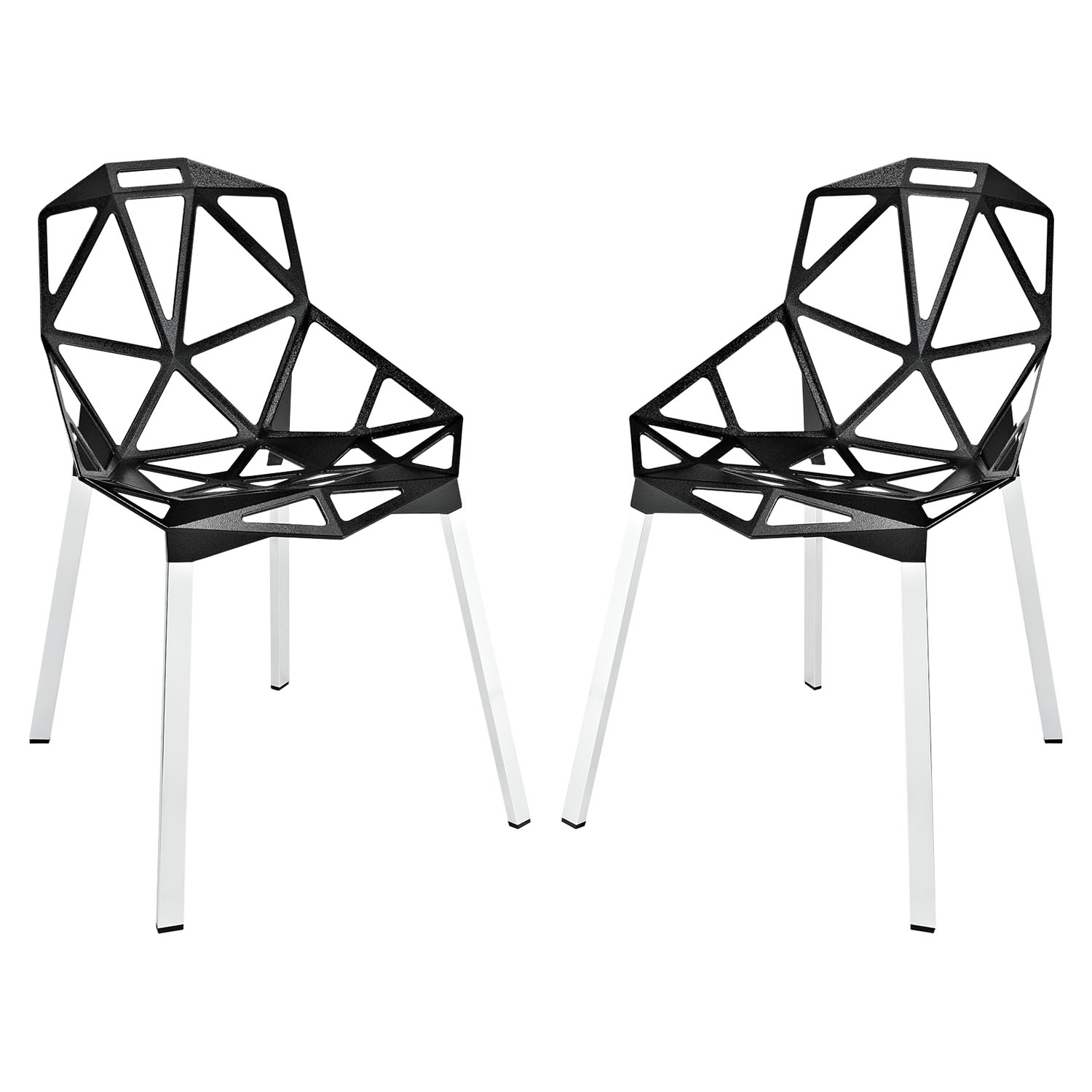 Connections Aluminum Dining Chair - Black (Set of 2)