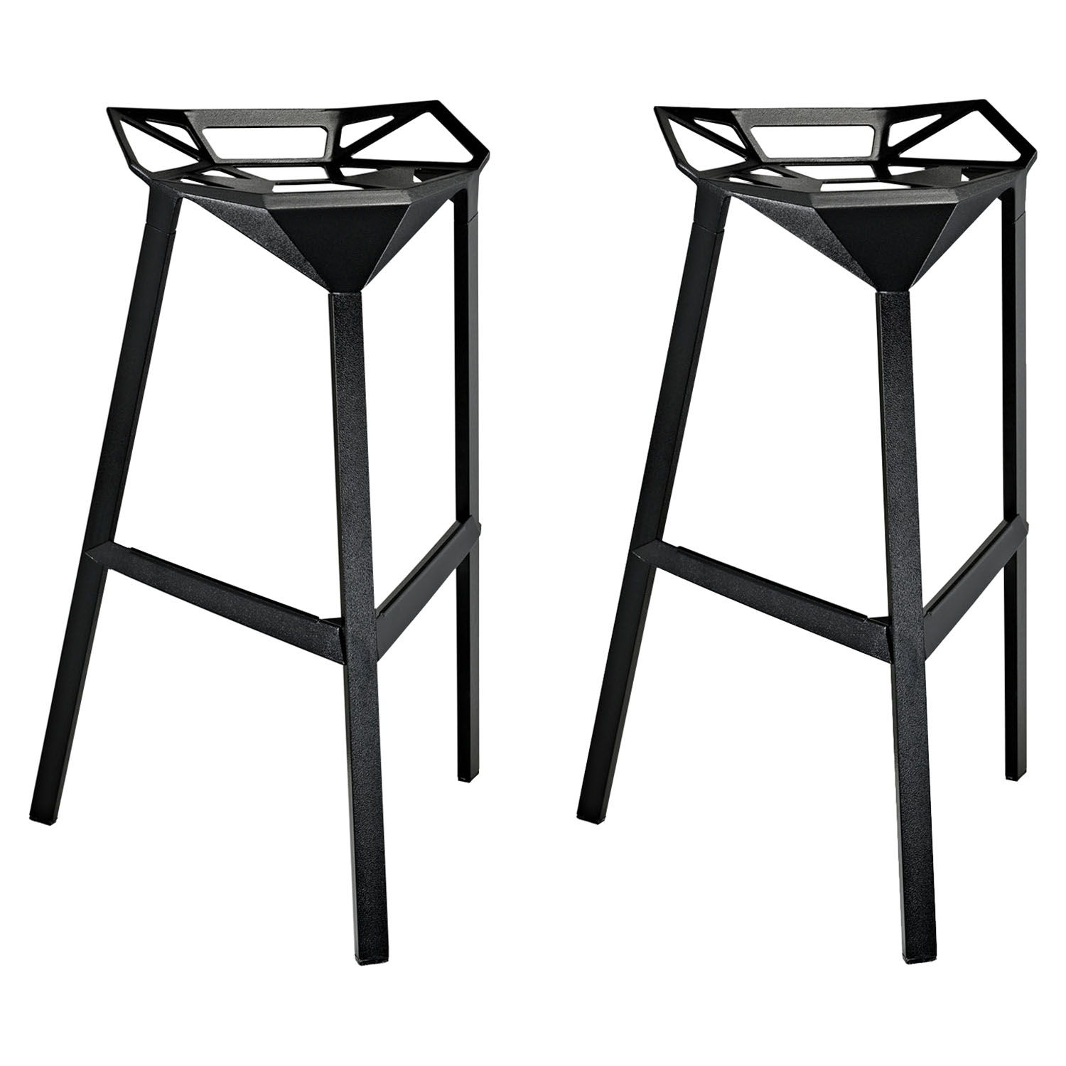 Launch Stacking Bar Stool - Backless, Black (Set of 2)