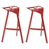 Launch Stacking Bar Stool - Backless, Red (Set of 2)
