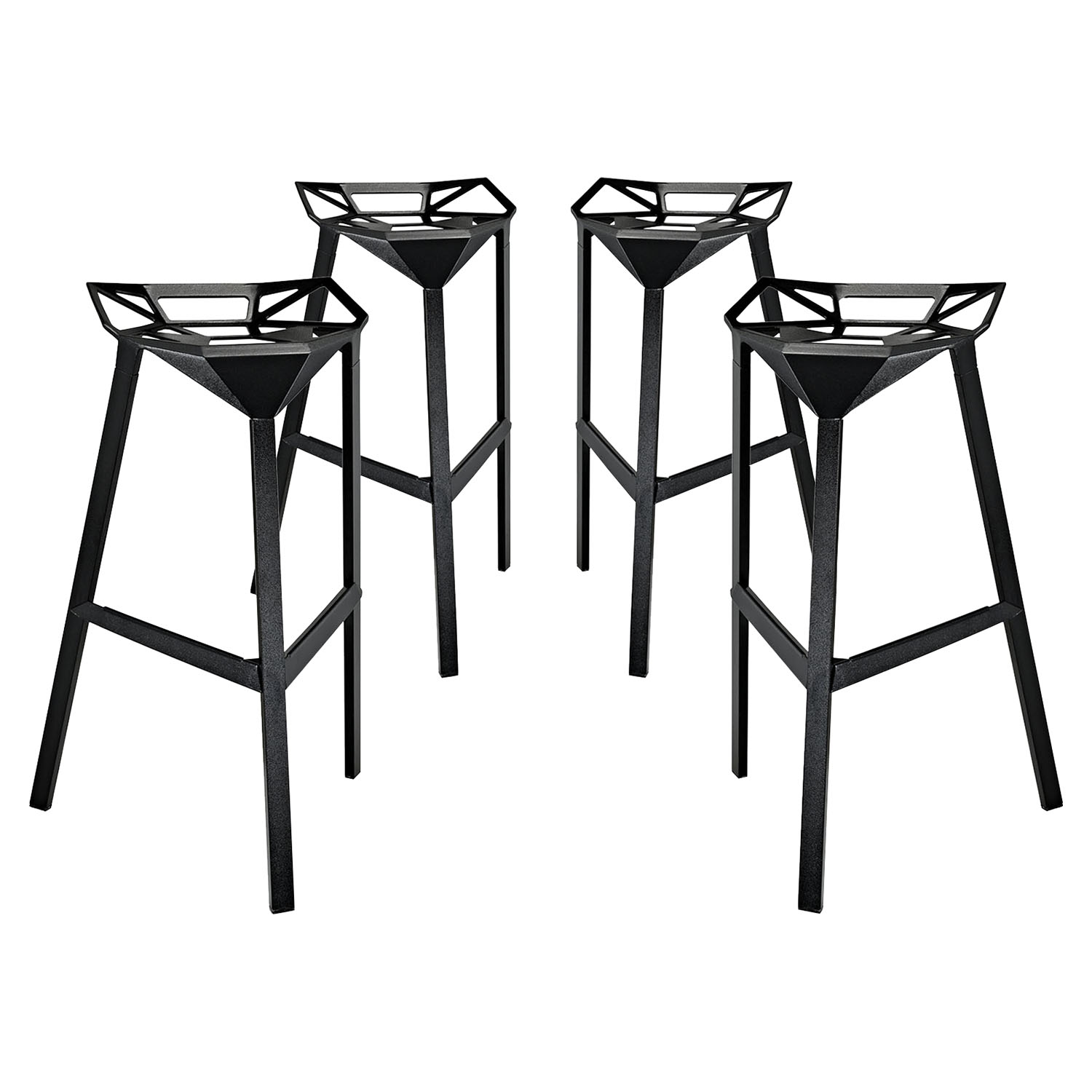 Launch Aluminum Stacking Bar Stool - Black (Set of 4)