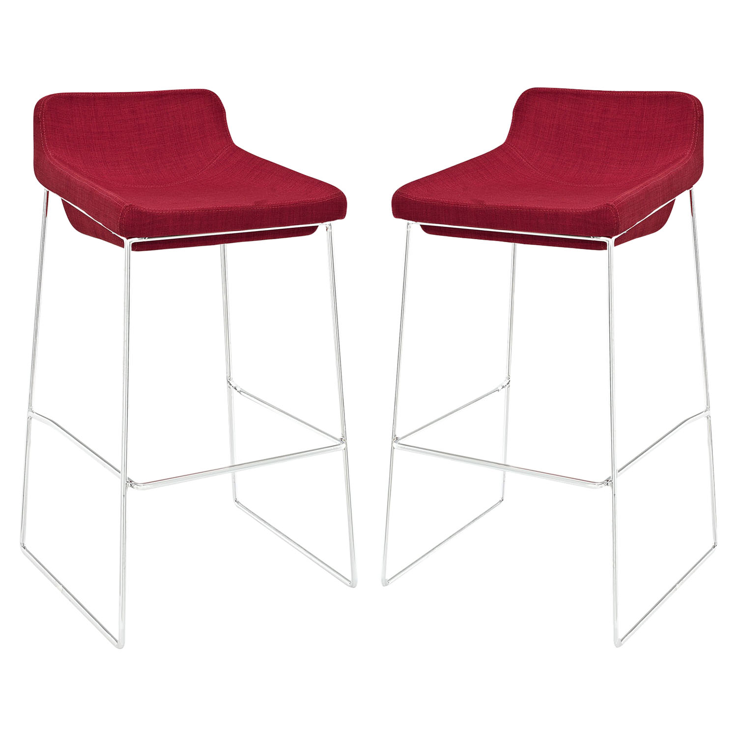 Garner Bar Stool - Backless, Red (Set of 2)