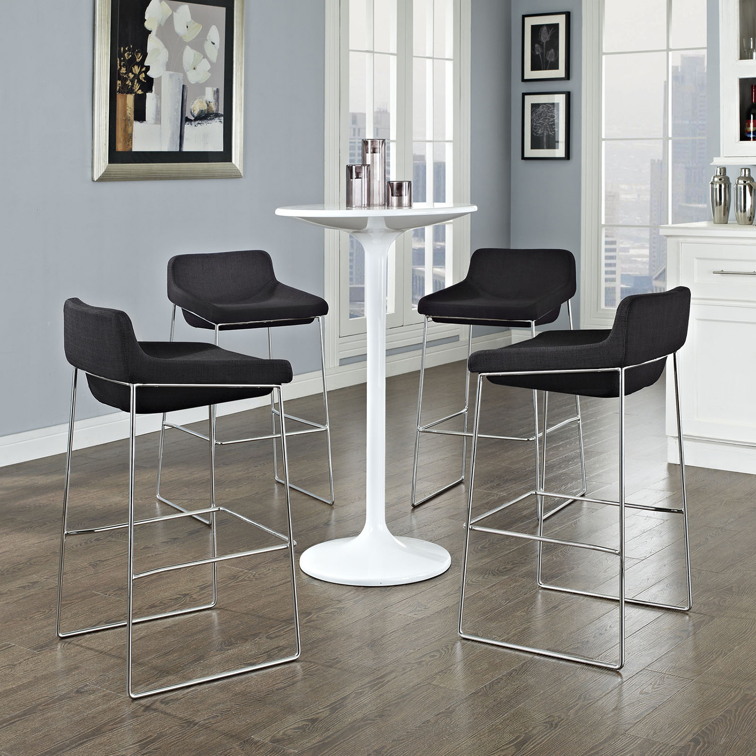 Garner Bar Stool - Metal Legs, Black (Set of 4) - EEI-1365-BLK