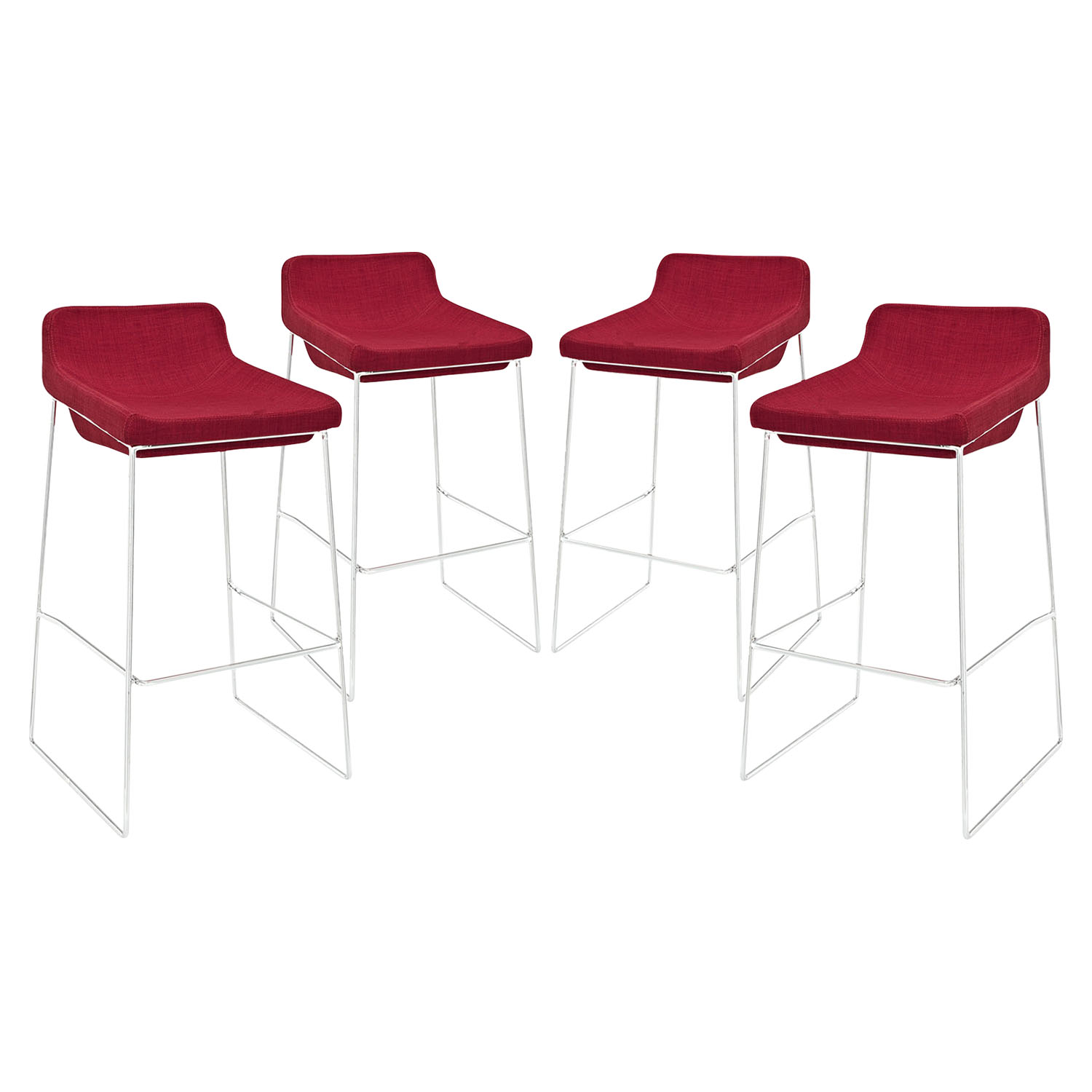 Garner Bar Stool - Metal Legs, Red (Set of 4)