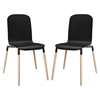Stack Dining Chair - Wood Legs, Black (Set of 2)