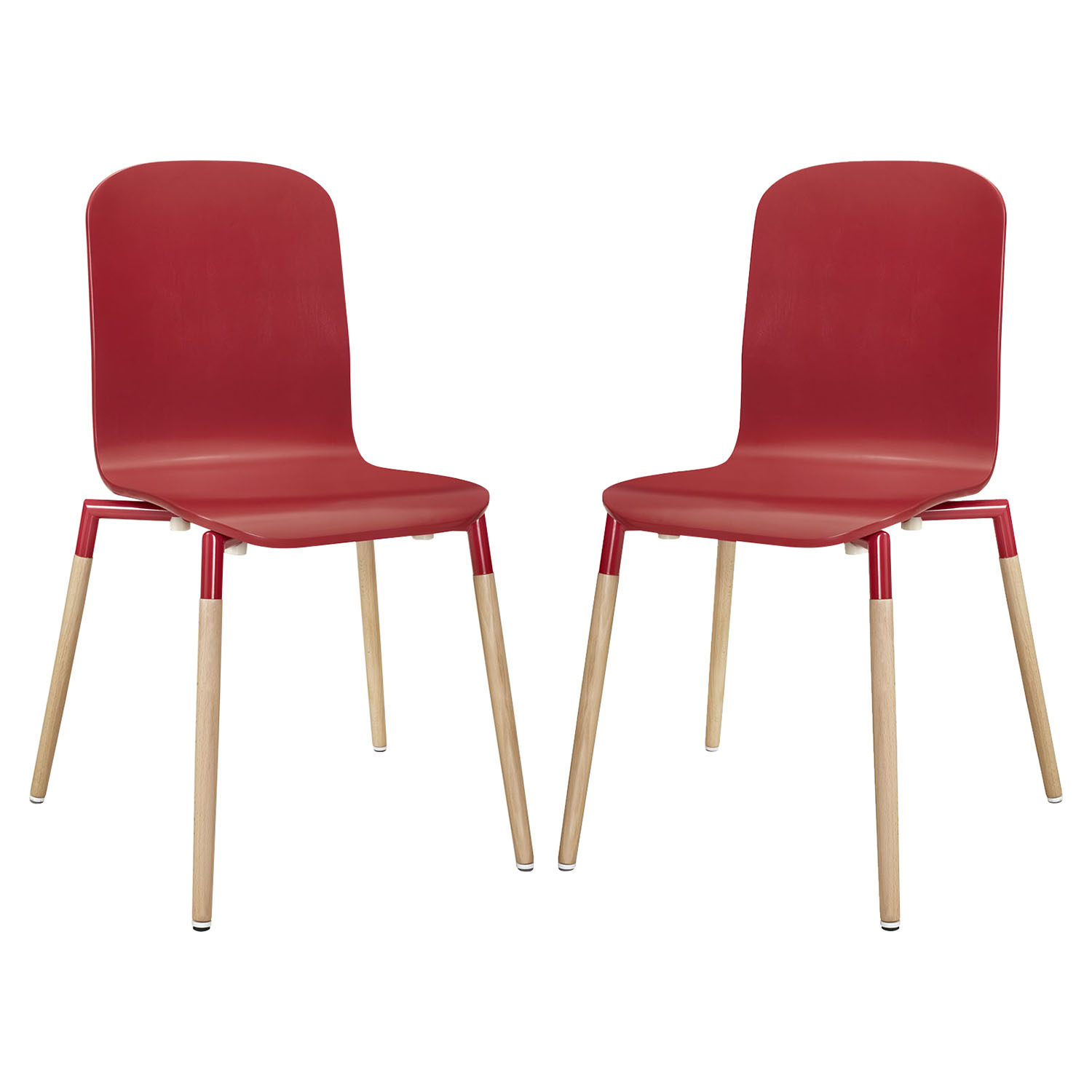 Stack Dining Chair - Wood Legs, Red (Set of 2)