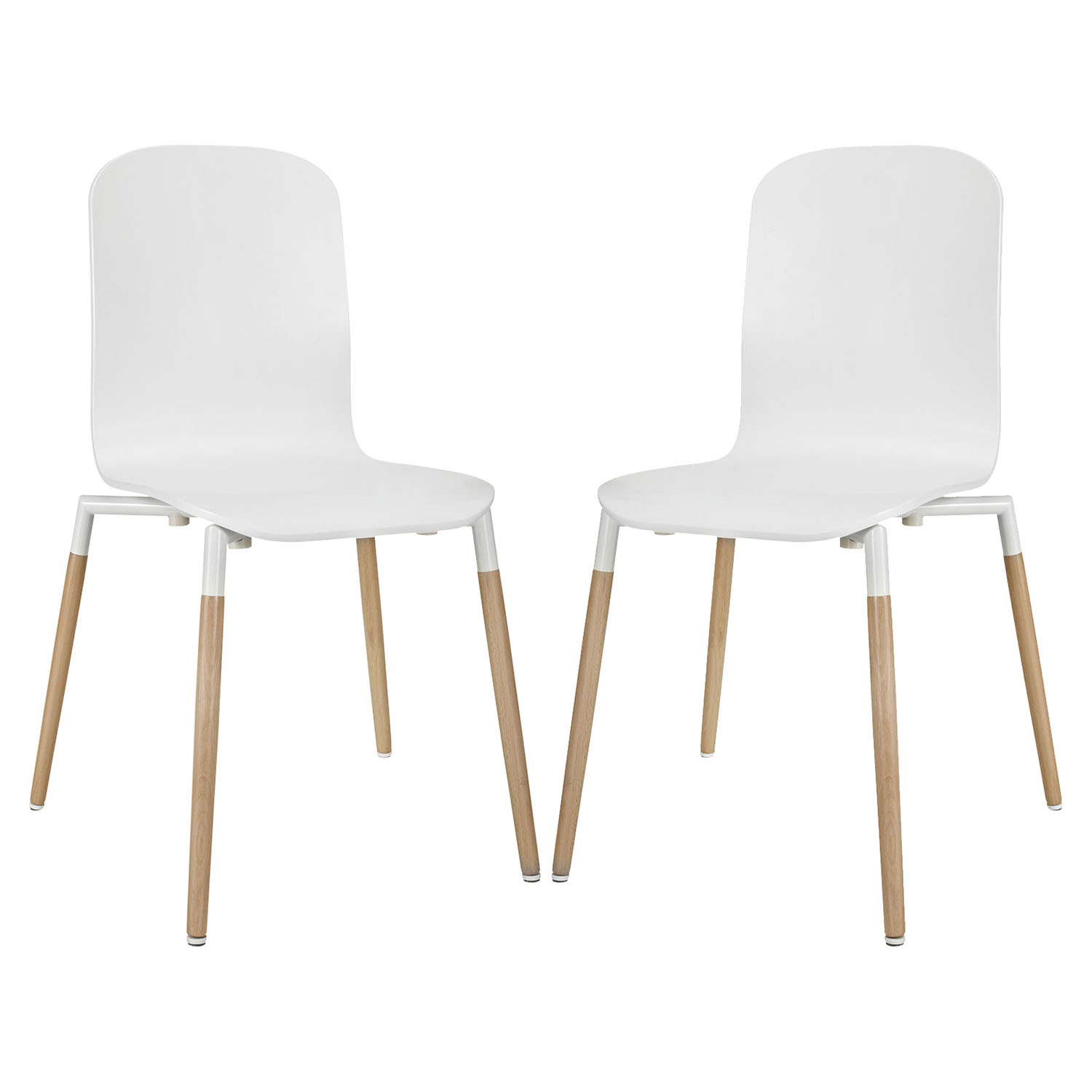 Stack Dining Chair - Wood Legs, White (Set of 2) - EEI-1372-WHI