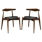 Stalwart Dining Side Chair - Wood Frame, Dark Walnut, Black (Set of 2) - EEI-1377-DWL-BLK