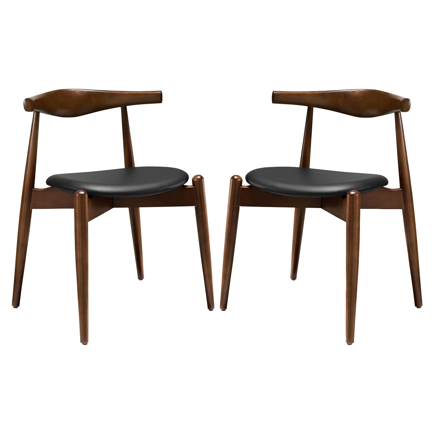 Stalwart Dining Side Chair - Wood Frame, Dark Walnut, Black (Set of 2)